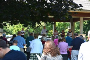 Worship in the church grove